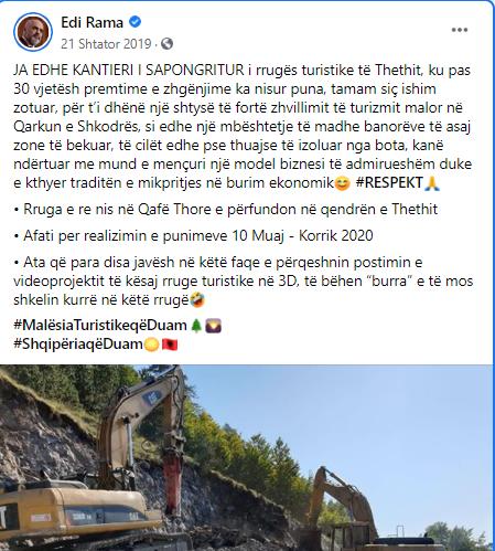 Postimi i Edi Ramës, 21 shtator 2019